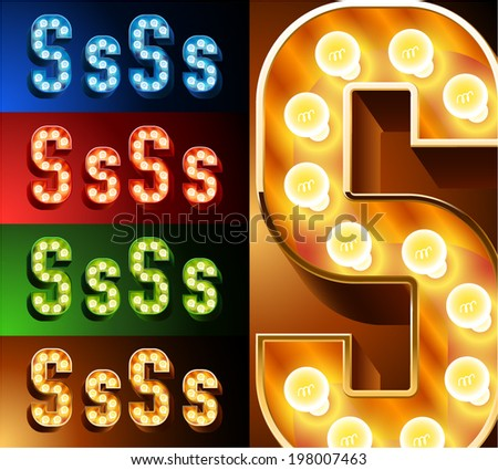 Ultimate realistic lamp board alphabet. Condensed style. Left and right options. Multicolored. Letter s - stock vector