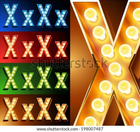 Ultimate realistic lamp board alphabet. Condensed style. Left and right options. Multicolored. Letter x - stock vector