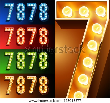 Ultimate realistic lamp board alphabet. Condensed style. Left and right options. Multicolored. Numbers 7 -8 - stock vector
