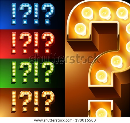 Ultimate realistic lamp board alphabet. Condensed style. Left and right options. Multicolored. Symbols 4 - stock vector