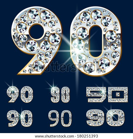Ultimate vector alphabet of diamonds and platinum ingot. Six options. Numbers 9 0 - stock vector