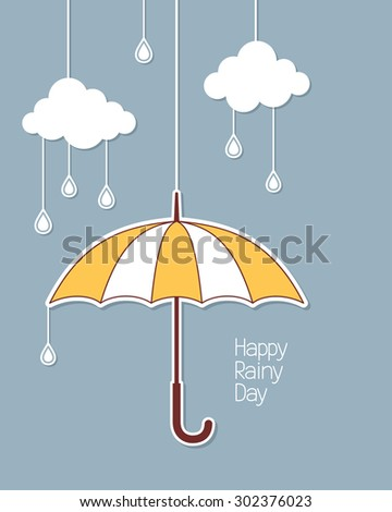 Umbrella, clouds and rain drops hanging in paper cutout style - stock vector