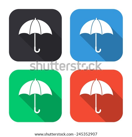 umbrella icon - colored illustration (gray, blue, green, red) with long shadow - stock vector