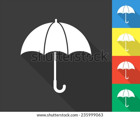 umbrella icon - gray and colored (blue, yellow, red, green) vector illustration with long shadow - stock vector
