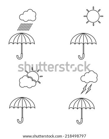 umbrella icon set and weather - stock vector