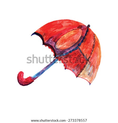 Umbrella made paints on a white background. Isolated, easy editable vector image. - stock vector