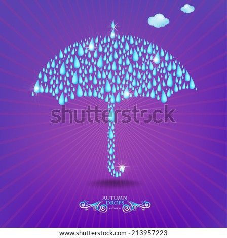 Umbrella`s abstract illustration, made with rainy drops. - stock vector