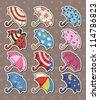 umbrella stickers - stock vector