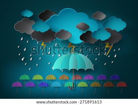 umbrella with heavy fall rain in the dark sky.paper cut style. - stock vector