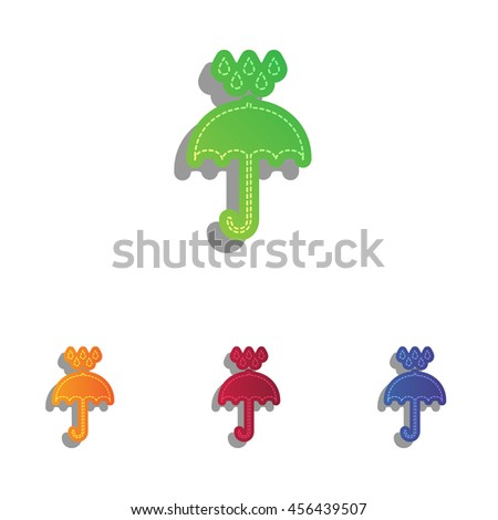 Umbrella with water drops. Rain protection symbol. Flat design style. Colorfull applique icons set. - stock vector