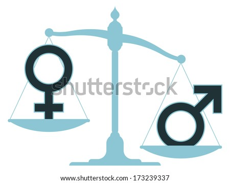 Unbalanced scale with male and female icons showing an inequality between the sexes with the female carrying the most weight - stock vector