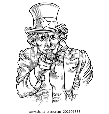 uncle sam engraving style - stock vector