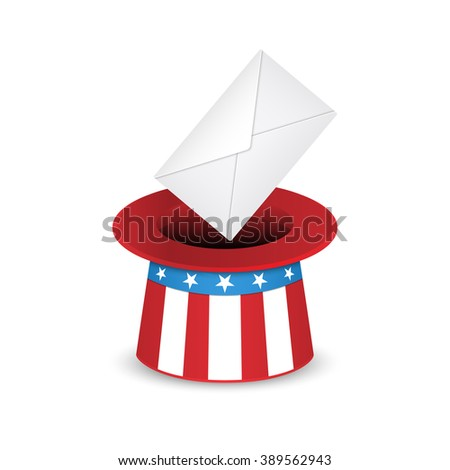 Uncle Sam hat and envelope. Voting in the US presidential election. Vector illustration isolated on white background. - stock vector