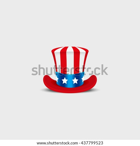 Uncle Sam hat on white background. Cylinder USA American. Idependence day. National Patriotic Date - stock vector