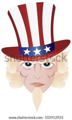 Uncle Sam in Fourth of July Hat on Independence Day Illustration - stock vector