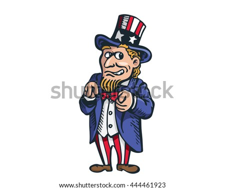 Uncle Sam Patriotic American Caricature - Election Day Today - stock vector