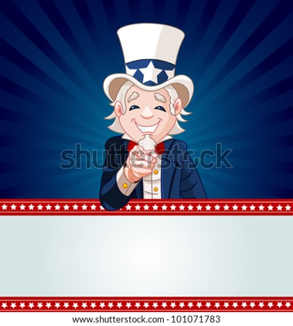Uncle Sam pointing. Perfect for a USA or Fourth of July illustration. - stock vector