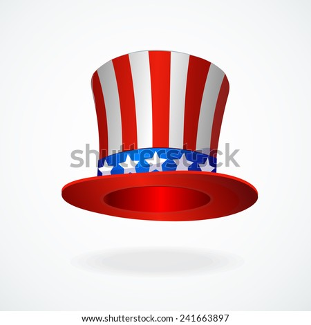 Uncle Sam's hat vector. 4 of July celebration icon . - stock vector
