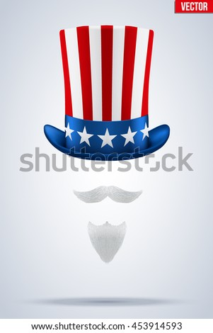 Uncle Sam's Symbol. Hat with beard and mustache. Concept of American Freedom and liberty. Vector Illustration Isolated on white background. - stock vector