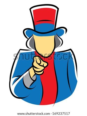 Uncle Sam Symbol Vector Cartoon Illustration - stock vector