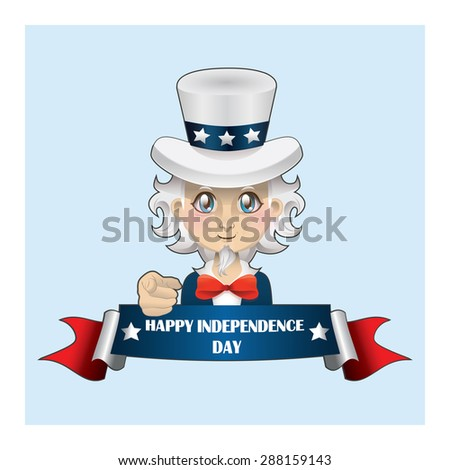Uncle Sam with banner - stock vector