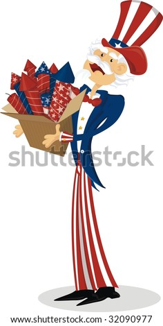Uncle Sam with fireworks box - stock vector