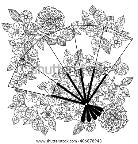 Uncoloured Oriental fan decorated with floral patterns for adult  coloring book.  Black and white. Uncolored Vector illustration. The best for your design, textiles, posters, adult coloring book - stock vector