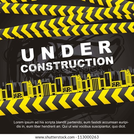 under construction background with buildings. vector illustration - stock vector