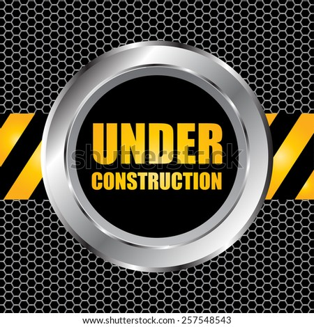 under construction background with chrome metal grid design, vector illustration - stock vector