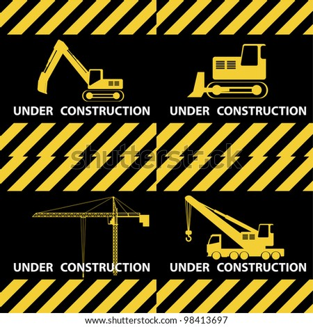 Under construction background with machinery in yellow and black colours. - stock vector