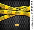 Under construction caution tape on metallic background, vector - stock vector
