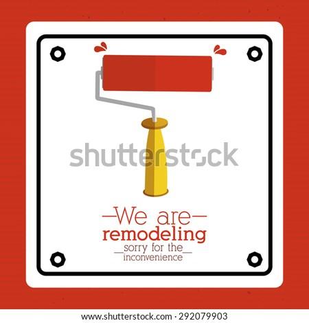 Under construction design over red background, vector illustration - stock vector
