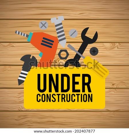 under construction design over wooden background vector illustration - stock vector