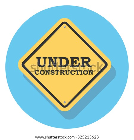 under construction flat icon in circle - stock vector