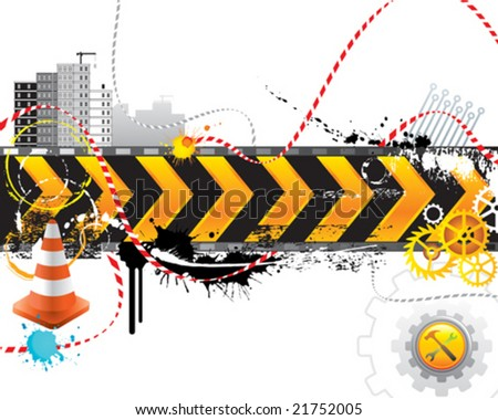 Under construction for internet web page, vector layered. - stock vector
