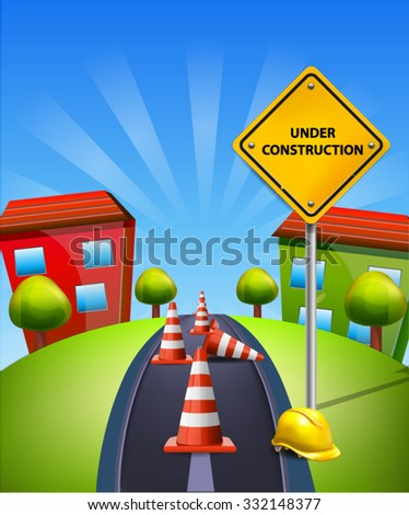Under Construction Illustration Traffic Cones and Yellow Sign and Hard Cap on blue landscape - stock vector