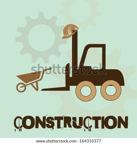 under construction over blue  background vector illustration  - stock vector
