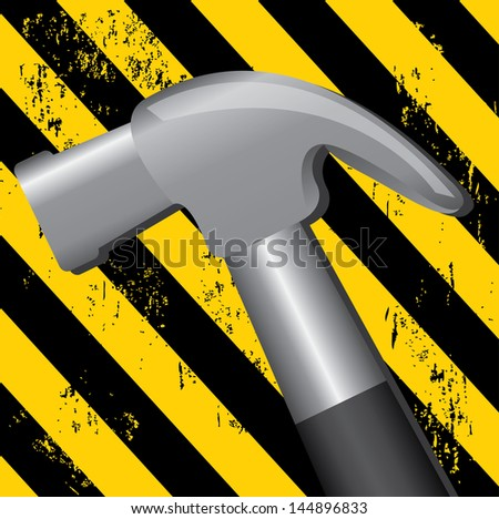under construction over lines yellow and black background  vector illustration - stock vector