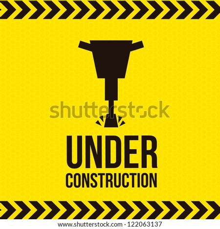 under construction over yellow  background. vector illustration - stock vector
