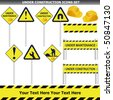 Under construction pole signs  set isolated on white vector - stock vector