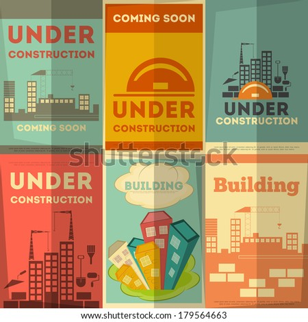 Under Construction Posters Design in Retro Flat Style. Vector Illustration. - stock vector