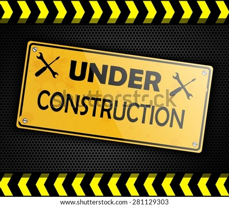 Under construction sign background black. Vector - stock vector