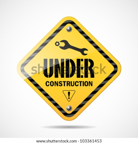 Under construction sign black and yellow, vector illustration - stock vector