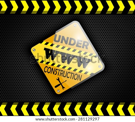 Under construction sign on background black. Vector - stock vector