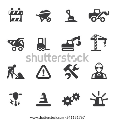 Under Construction Silhouette icons - stock vector