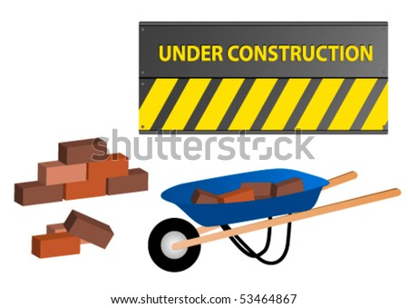 Under construction site with wheelbarrow and wall - stock vector