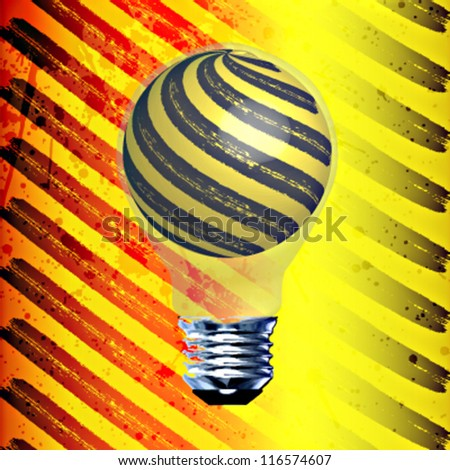 Under construction style vector background with a black and yellow light bulb - stock vector