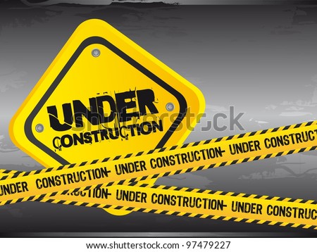 under construction with yellow tape, grunge. vector illustration - stock vector