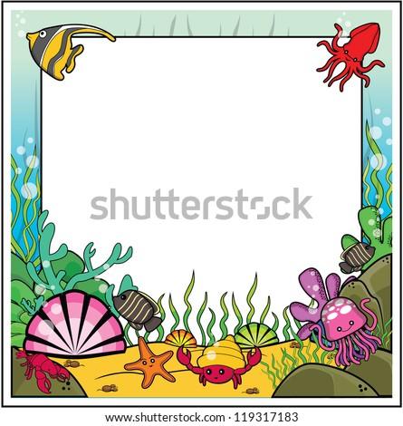 under sea frame - stock vector