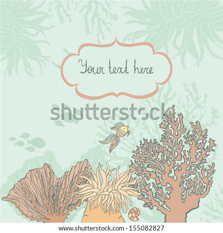 Under sea framing for your text with fossils, corals, shell and fish on the background. Cute cartoon sea life objects with shadows on the bottom of the ocean. Cute tropical frame for your text.  - stock vector